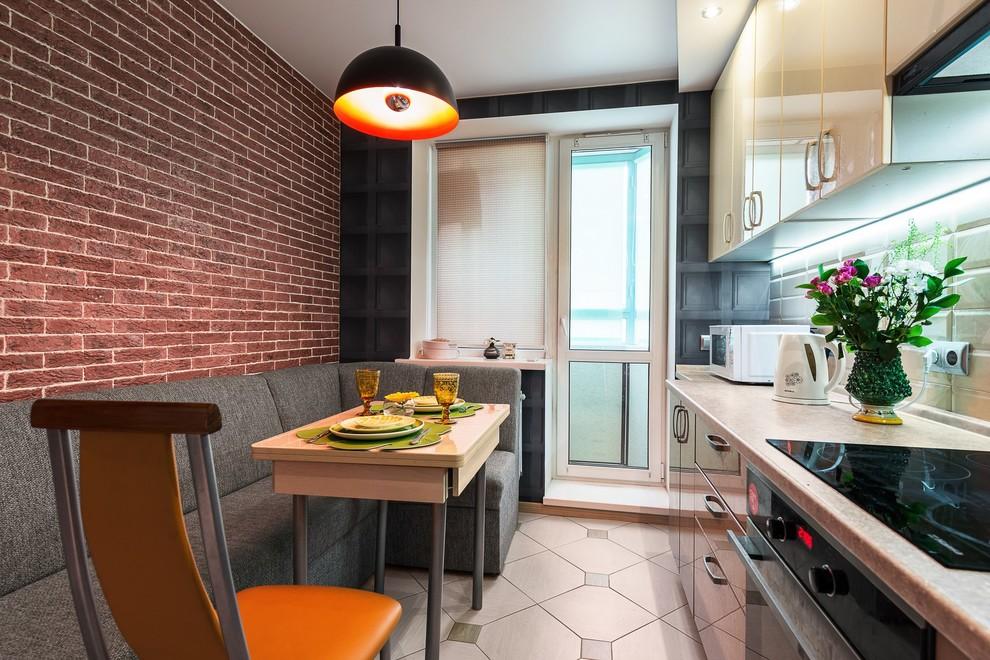 bucatarie moderna cu loc de luat masa - bej