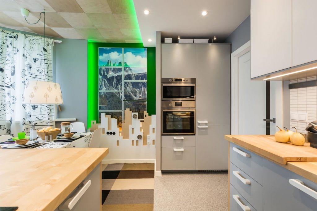 bucatarie moderna cu accente de verde